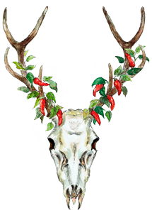 logo deer skull and chilli